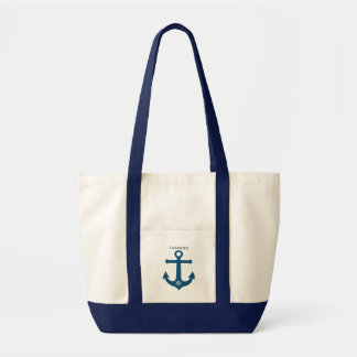Navy teal blue anchor nautical design  personalize tote bag
