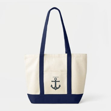 Beach Themed Navy teal blue anchor nautical design  personalize tote bag
