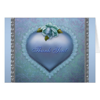 Navy Teal Blue Damask Heart Thank You Card