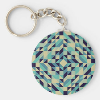 Navy Teal Cream Triangle Pattern Keychain