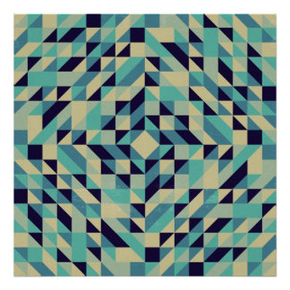 Navy Teal Cream Triangle Pattern Poster