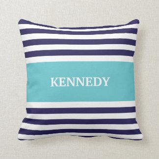 Navy Teal Stripes Monogram Throw Pillow