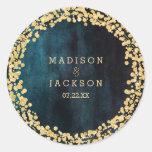 Navy Teal Watercolor & Gold Monogram Wedding Classic Round Sticker