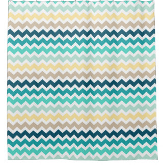 Teal Navy Shower Curtains
