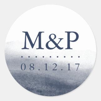 Navy Tides Wedding Monogram Classic Round Sticker