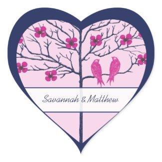 Navy Tree & Fuchsia Wedding Love Birds sticker