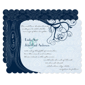 Navy Tree Swirls  Wedding Invitation