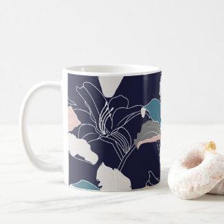 Navy Tropical Floral Mug