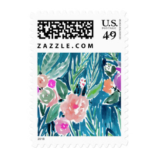 Navy Tropical Paradise Floral Postage
