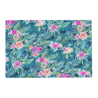 NAVY TROPICAL PARADISE Hawaiian Hibiscus Floral Placemat