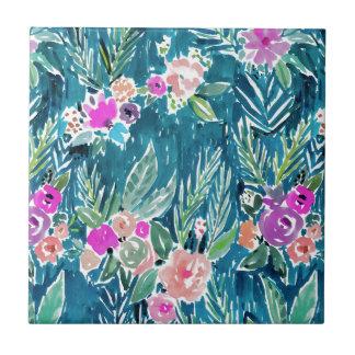 NAVY TROPICAL PARADISE Hawaiian Hibiscus Floral Tile