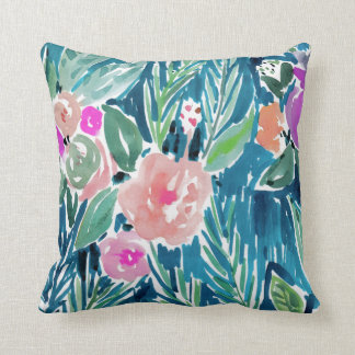 Navy Tropical Paradise Watercolor Floral Throw Pillow