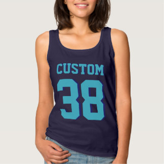 Navy & Turquoise Adults | Sports Football Jersey Tank Top