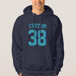 Navy & Turquoise Adults | Sports Jersey Design Hoodie