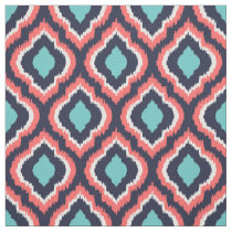 Navy Turquoise and Coral Ikat Moroccan Fabric