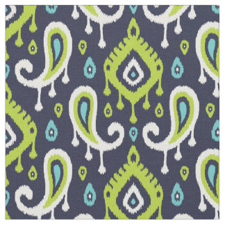 Navy Turquoise and Green Ikat Paisley Fabric