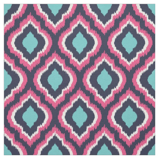 Navy Turquoise and Pink Ikat Moroccan Fabric | Zazzle