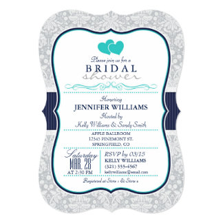 Navy, Turquoise, Gray Damask Bridal Shower 5x7 Paper Invitation Card