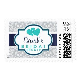 Navy, Turquoise, Gray Damask Bridal Shower Stamp