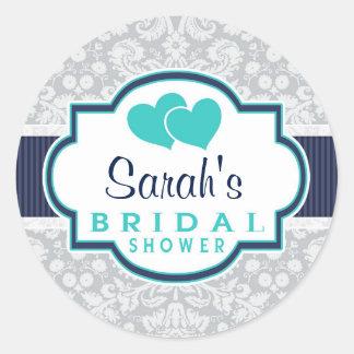 Navy, Turquoise, Gray Damask Bridal Shower Classic Round Sticker