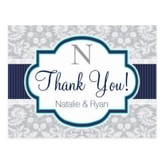 Navy, Turquoise, Gray Damask Thank You Postcard