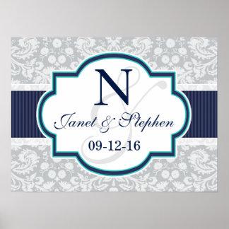 Navy, Turquoise, Gray Damask Wedding Poster