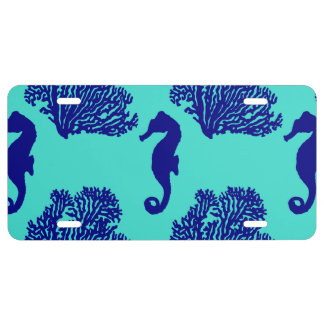 Navy Turquoise Seahorse Coastal Pattern License Plate
