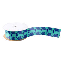 Navy Turquoise Seahorse Coastal Pattern Satin Ribbon