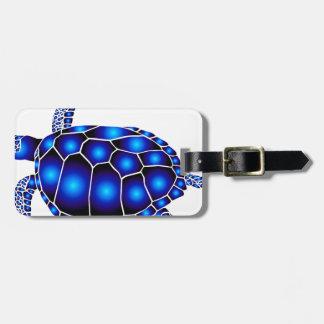 navy turtle of sea turtle ocean luggage tag