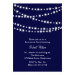 Navy Twinkle Lights Retirement Party Invitation