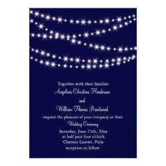 Navy Twinkle Lights Wedding Invitation