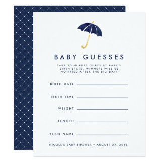 Navy Umbrella Baby Shower Guessing Game Card