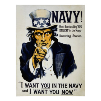 Navy! Uncle Sam is calling you, Enlist in the Navy Poster