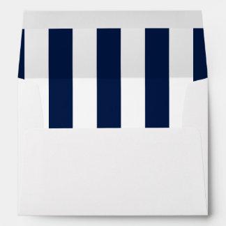 Navy Vertical Stripes Nautical Style Envelope