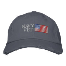 Navy Vet with American Flag Military Embroidered Baseball Cap