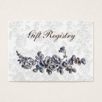 Navy Vintage Floral Wedding Business Card