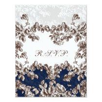 Navy Vintage Floral Wedding Card