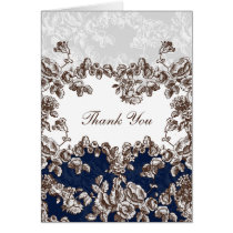 Navy Vintage Floral Wedding Card
