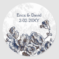 Navy Vintage Floral Wedding Classic Round Sticker