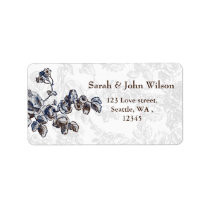 Navy Vintage Floral Wedding Label