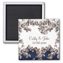 Navy Vintage Floral Wedding Magnet