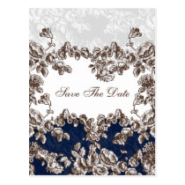 Navy Vintage Floral Wedding Postcard