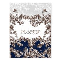 Navy Vintage Floral Wedding Postcard