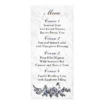 Navy Vintage Floral Wedding Rack Card