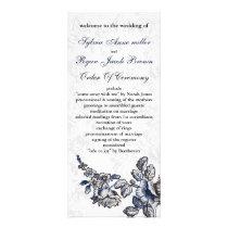 Navy Vintage Floral Wedding Rack Card