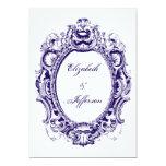 "Navy Vintage Frame Wedding Invitations 5"" X 7"" Invitation Card"