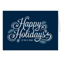 Navy Vintage Happy Holidays Script Greeting Card