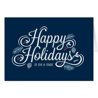 Navy Vintage Happy Holidays Script Greeting Card