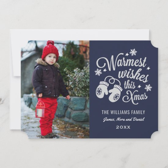 Navy Warmest Wishes | Script Christmas Photo Holiday Card
