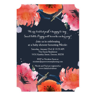 Navy Watercolor Baby Shower Party Invite